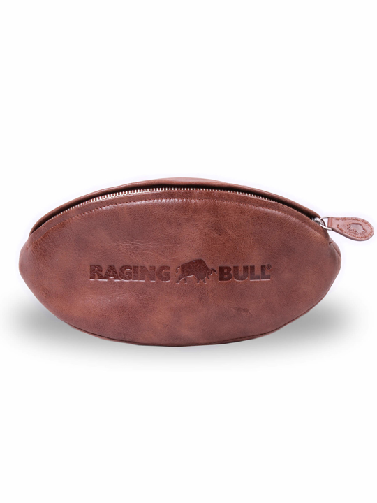 Raging Bull Leather Rugby Ball Wash Bag - Brown