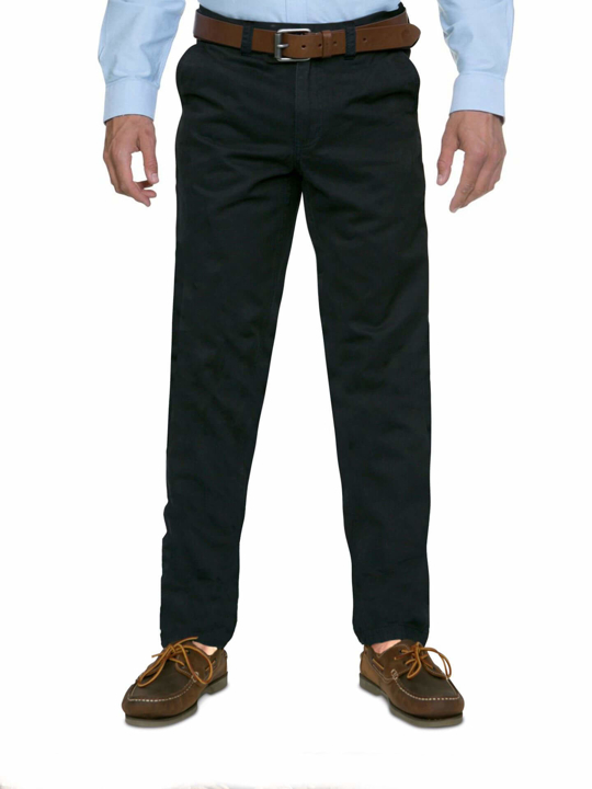 model wearing high quality navy chino trousers