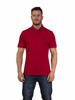 model wearing high quality red polo shirt