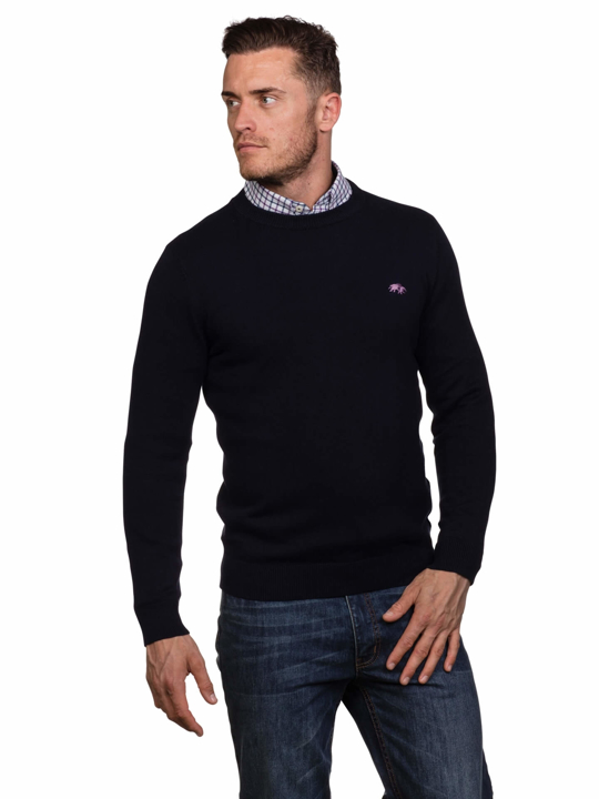 model wearing high quality navy crew neck jumper
