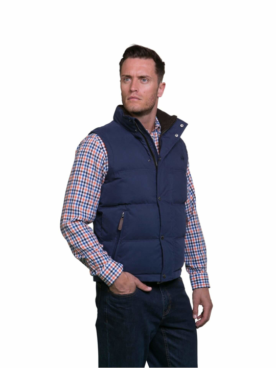 model wearing high quality blue gilet