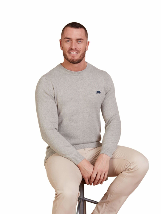 model wearing high quality grey crew neck jumper