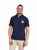 model wearing high quality navy short sleeve rugby shirt