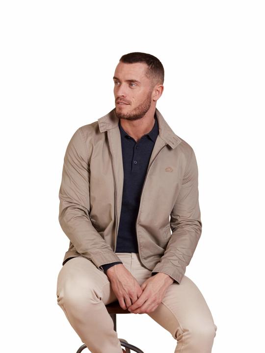 model wearing high quality tan lightweight jacket