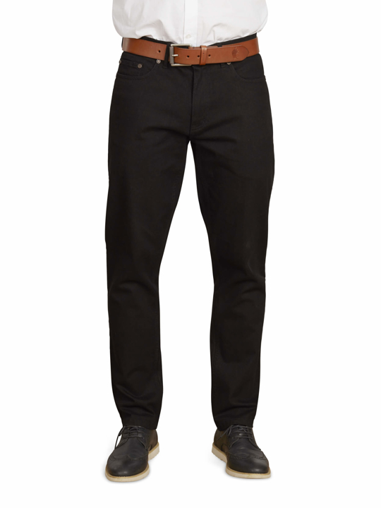 model wearing high quality black jeans