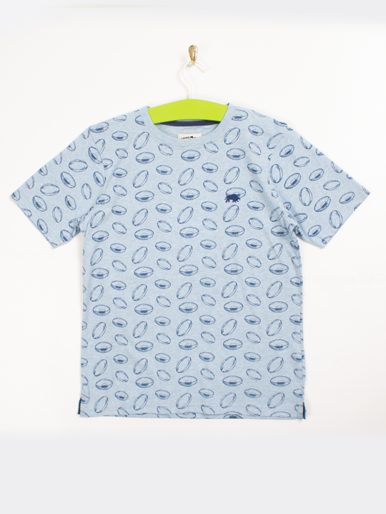 Raging Bull Rugby Ball All-over Print Tee - Sky Blue