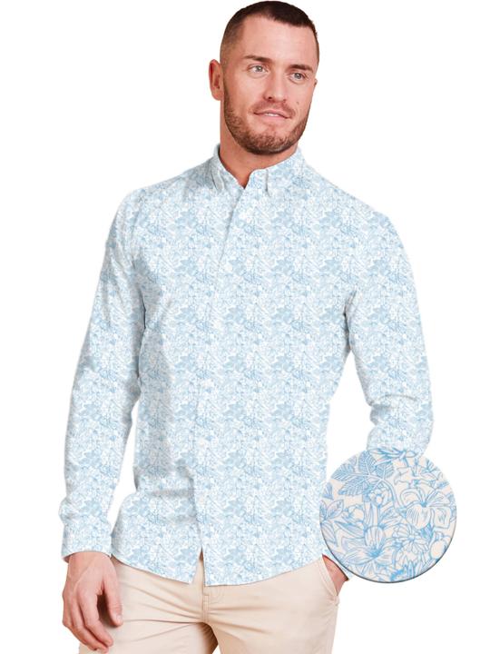 Raging Bull Big & Tall Long Sleeve Floral Print Shirt - White