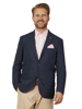 Raging Bull Big & Tall Herringbone Linen Blazer - Navy