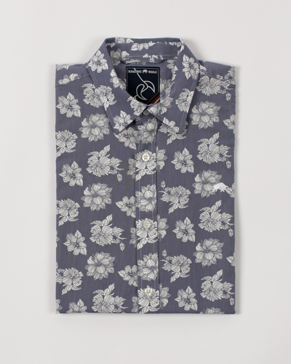 Raging Bull Big & Tall Short Sleeve Floral Shirt - Chambray