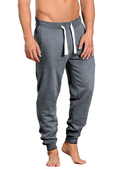model wearing high quality dark grey cuffed sweatpants
