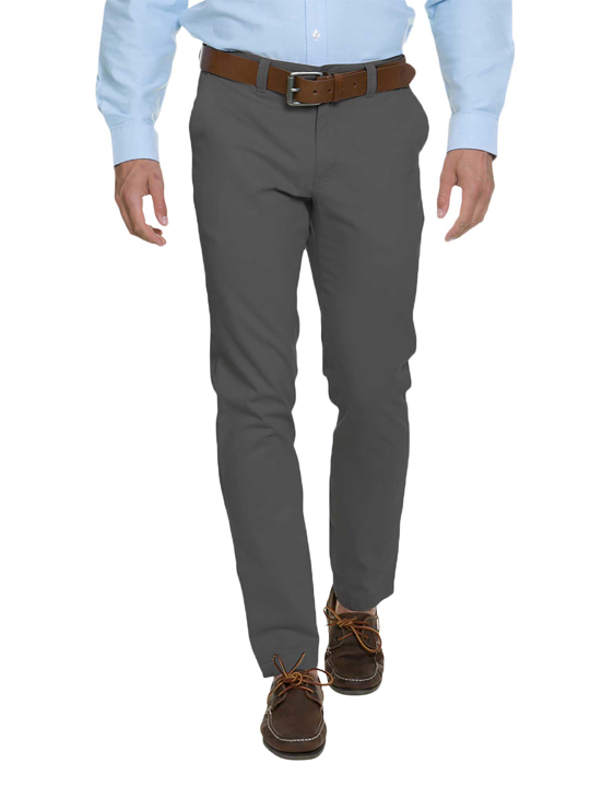 model wearing high quality grey chino trousers