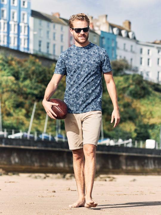 Raging Bull Big & Tall Leaf Print T-Shirt - Navy