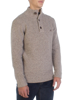 Raging Bull Big & Tall Button Neck Plain Knit - Vanilla