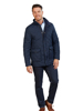 model wearing high quality navy quilted jacket