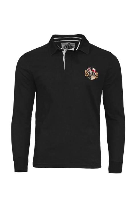 high quality black long sleeve rugby shirt