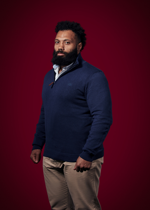 Raging Bull Big & Tall Knitted Cotton/Cashmere Quarter Zip - Navy