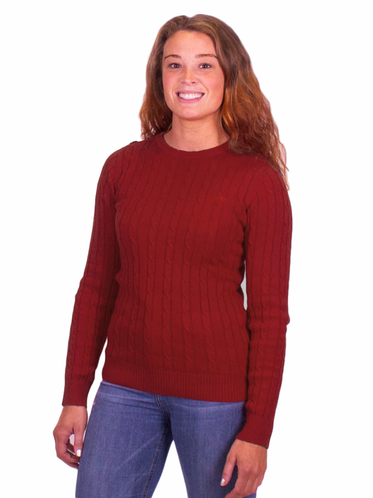 Raging Bull Cable Knit Crew Neck - Berry