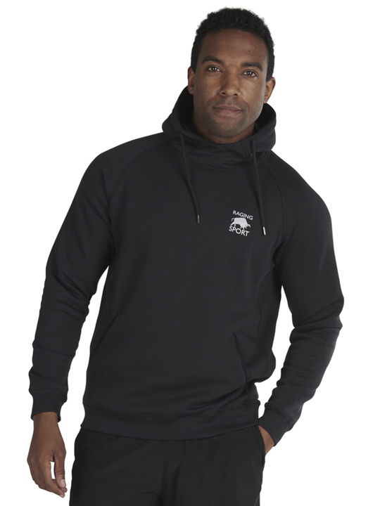 model wearing black pullover hoodie