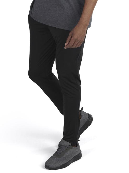 model wearing black slim jogger