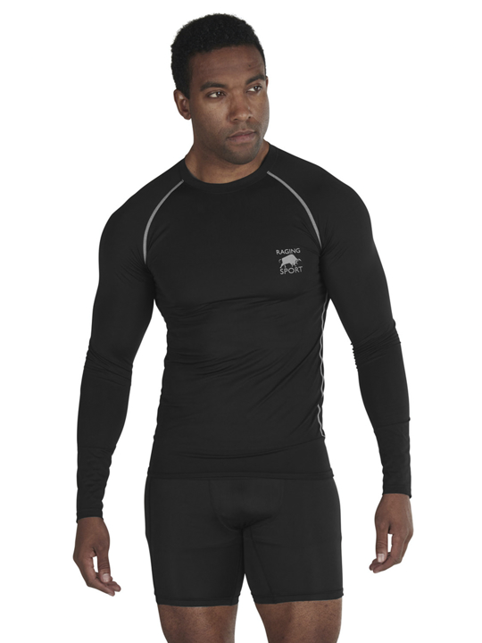 model wearing high quality long sleeve compression tee