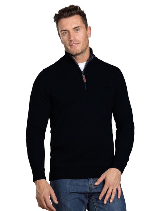 Raging Bull Big & Tall Knitted Cotton/Cashmere Quarter Zip - Black