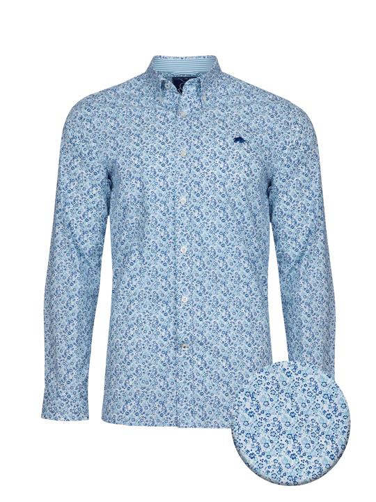 high quality blue floral print long sleeve poplin shirt