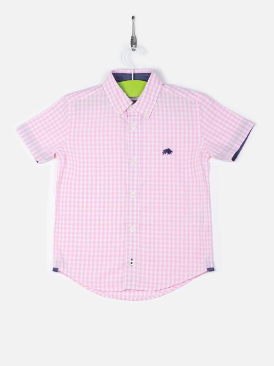 Raging Bull Kids Short Sleeve Gingham Shirt - Pink