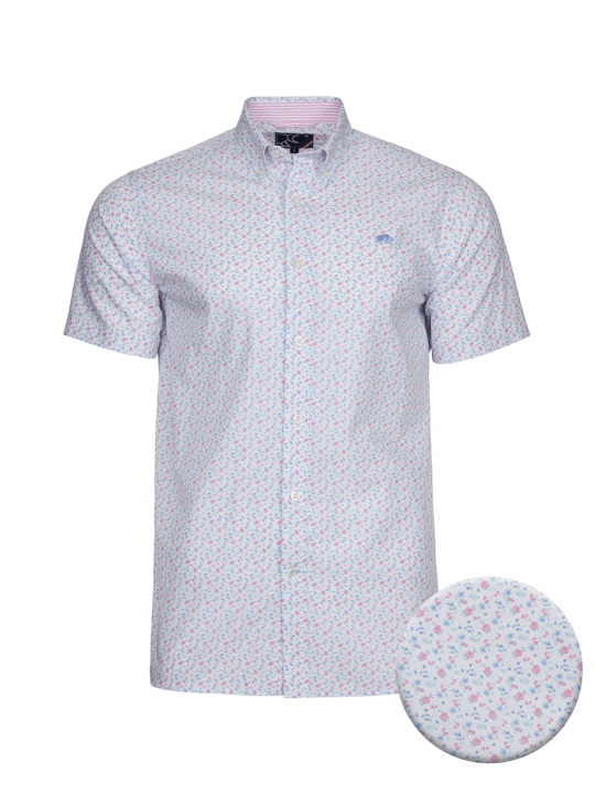 high quality pink and white short sleeve floral shirt