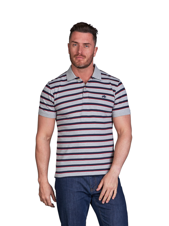 model wearing high quality striped grey pique polo shirt