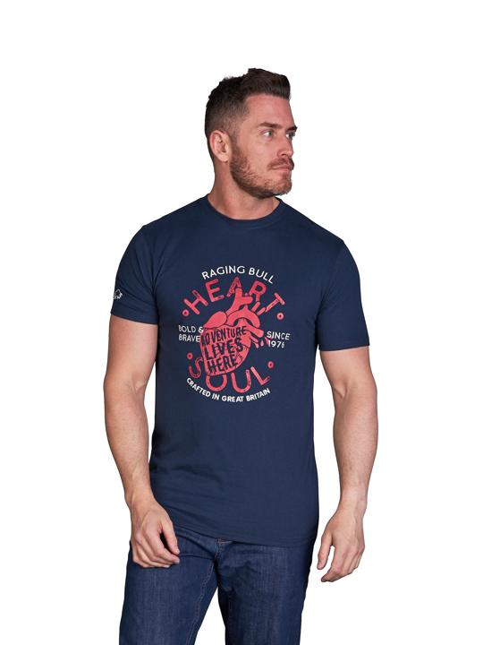 model wearing high quality navy graphic t-shirt