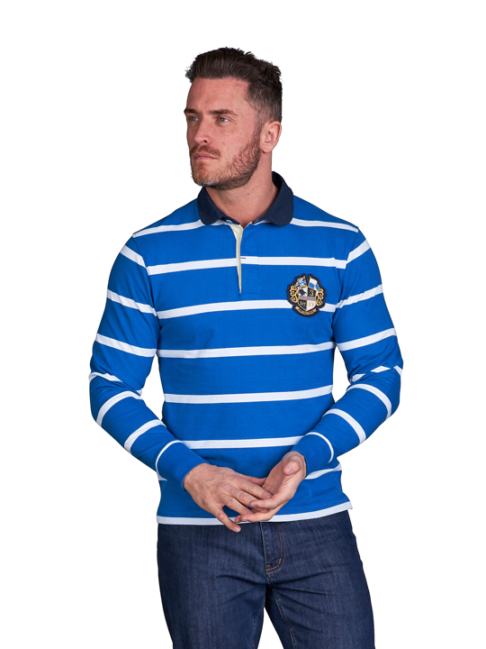 model wearing high quality white and blue striped long sleeve crest rugby shirt