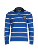high quality white and blue striped long sleeve crest rugby shirt