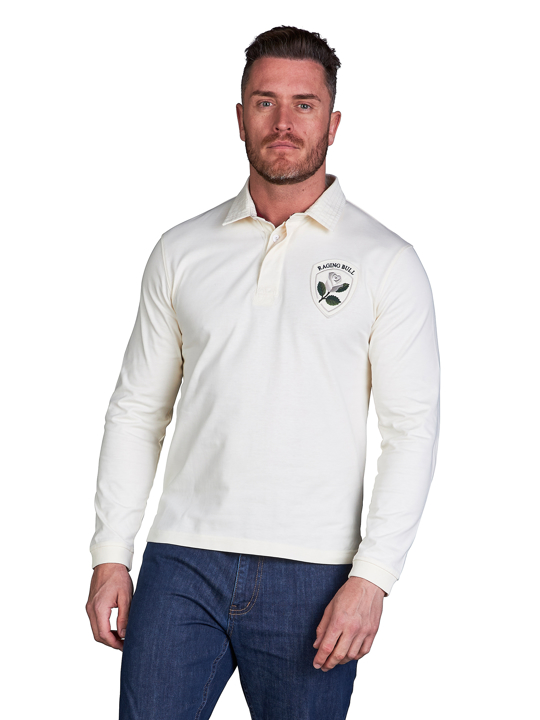 model wearing high quality crested white rugby shirt