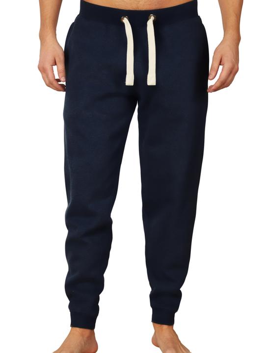 model wearing high quality navy sweatpants