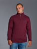 Raging Bull Knitted Cotton/Cashmere Quarter Zip - Burgundy