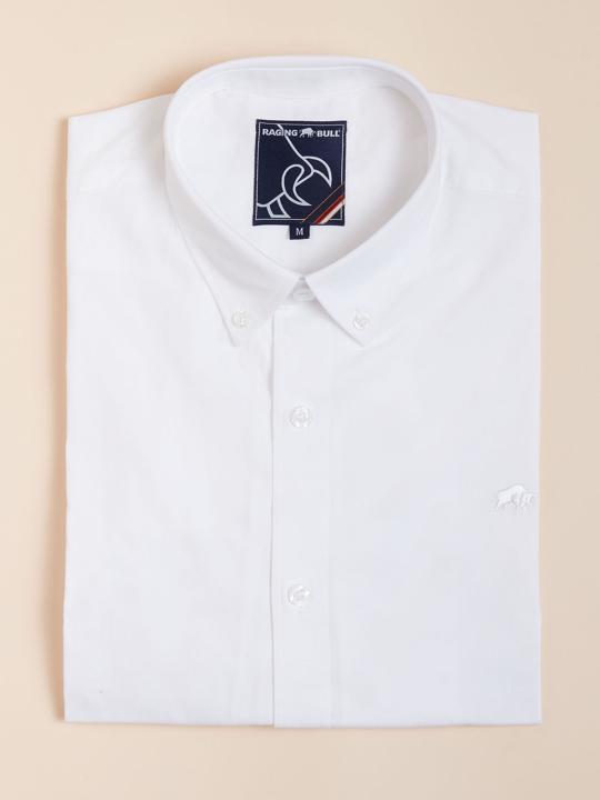 Raging Bull Long Sleeve Signature Poplin Shirt - White