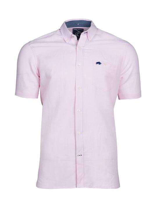 Raging Bull Big & Tall - Short Sleeve Linen Shirt - Pink
