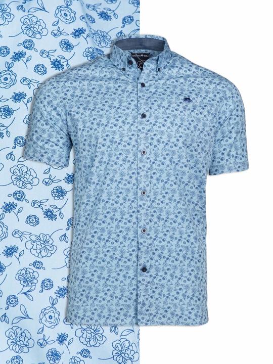 Raging Bull Big & Tall - Short Sleeve Floral Print Shirt - Sky Blue