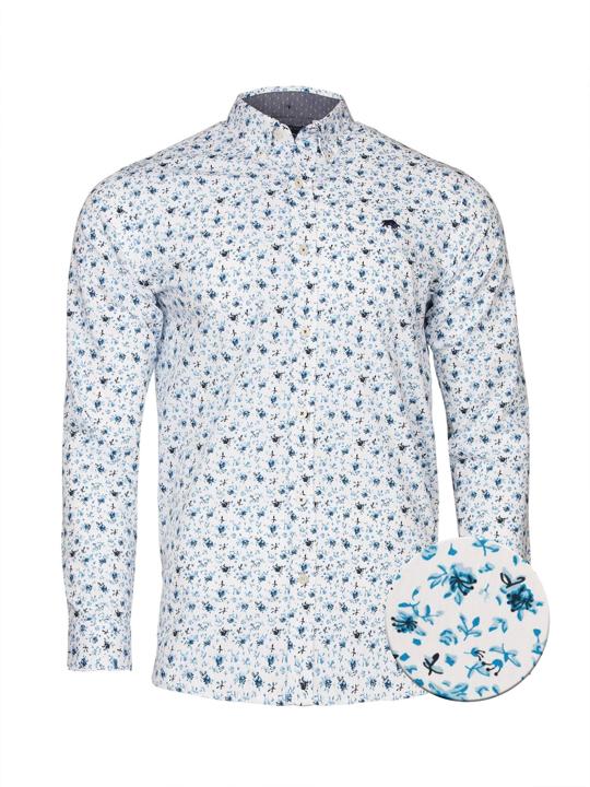 Raging Bull Long Sleeve Blossom Print Shirt - White