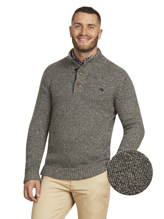 Raging Bull Big & Tall - Salt & Pepper Button Knit - Charcoal