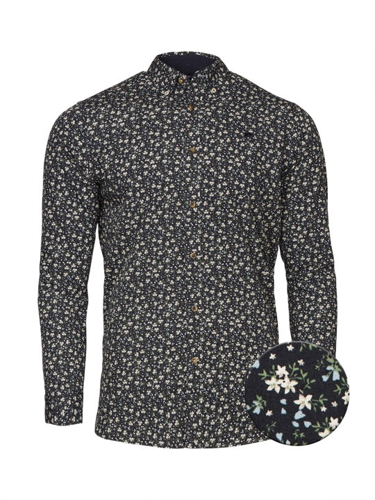 Raging Bull Big & Tall - Long Sleeve Ditzy Floral Shirt - Navy