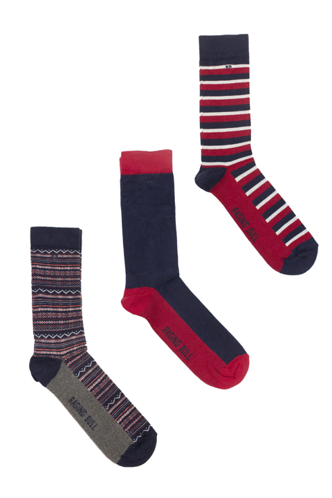 Raging Bull Three Pack Cotton Mix Socks - Red