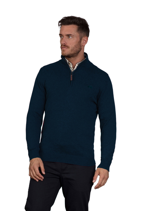 Raging Bull Knitted Cotton/Cashmere Quarter Zip - Navy