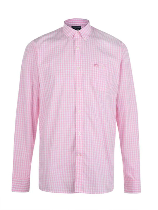 Raging Bull Long Sleeve Signature Gingham Shirt - Pink