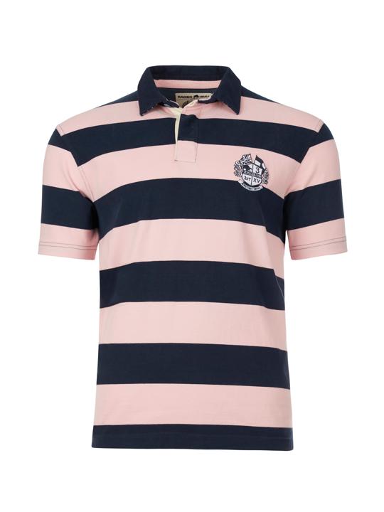 Raging Bull Short Sleeve Stripe Rugby - Pink