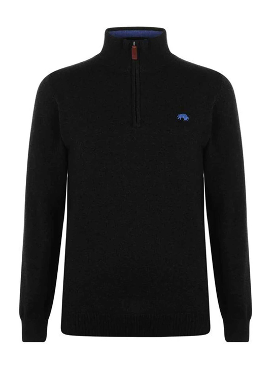Raging Bull Big & Tall - Knitted Cotton/Cashmere Quarter Zip - Black