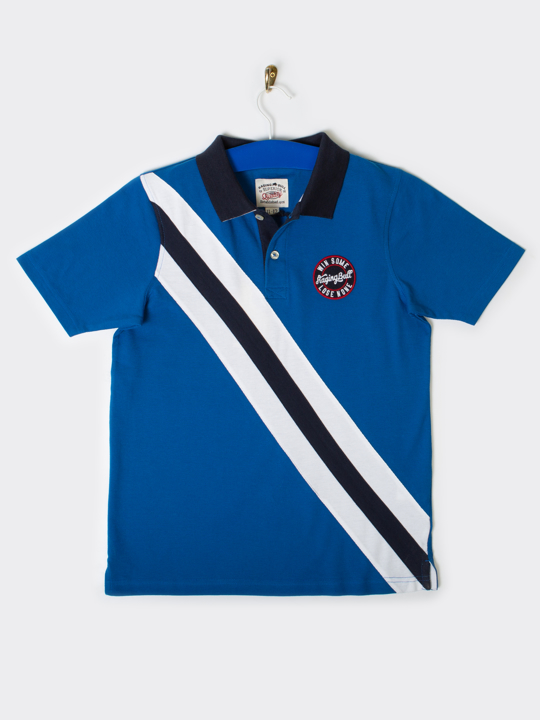 Raging Bull Diagonal Stripe Polo - Cobalt Blue