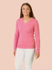 Raging Bull Cable Knit V-Neck Jumper - Pink