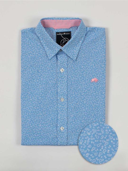 Raging Bull Short Sleeve Micro Daisy Print Shirt - Sky Blue