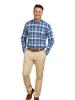 Raging Bull Long Sleeve Overcheck Oxford Shirt - Mid Blue